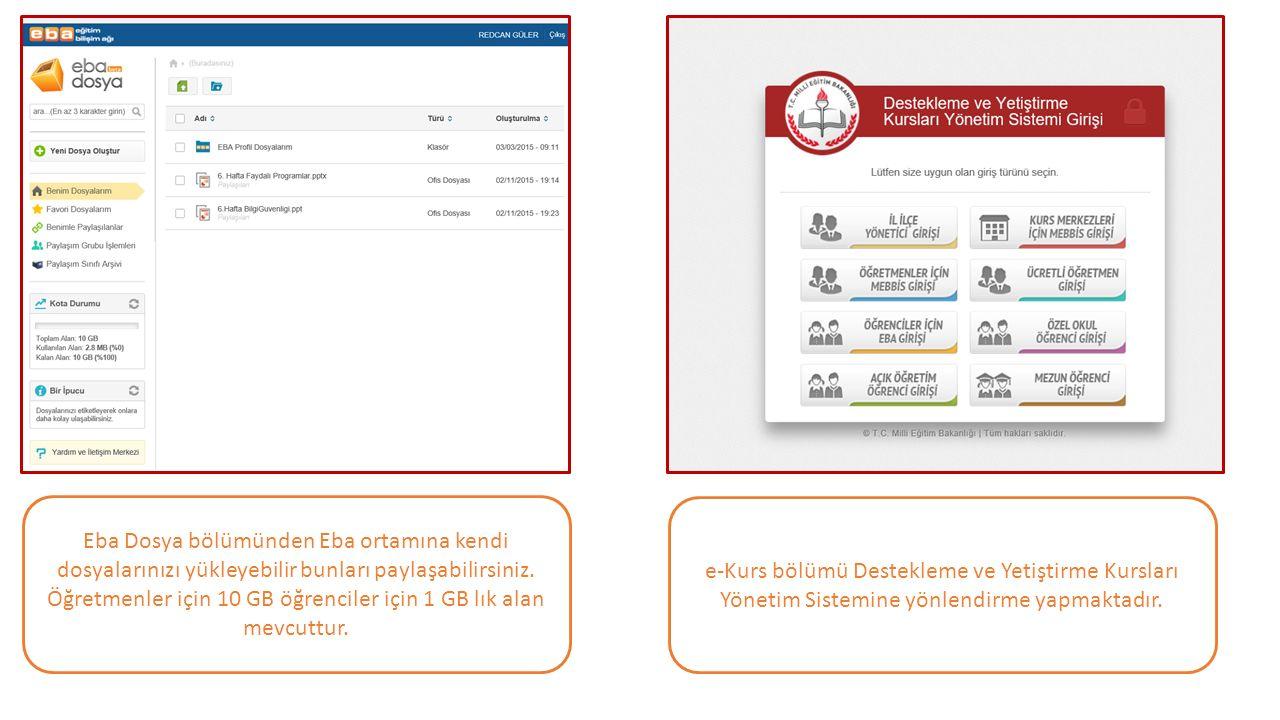 Eba Dosya bölümünden Eba ortamına kendi dosyalarınızı yükleyebilir bunları paylaşabilirsiniz. Öğretmenler için 10 GB öğrenciler için 1 GB lık alan mevcuttur.