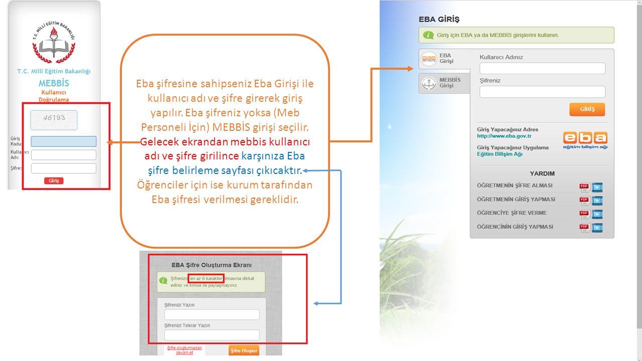 Eba şifresine sahipseniz Eba Girişi ile kullanıcı adı ve şifre girerek giriş yapılır.