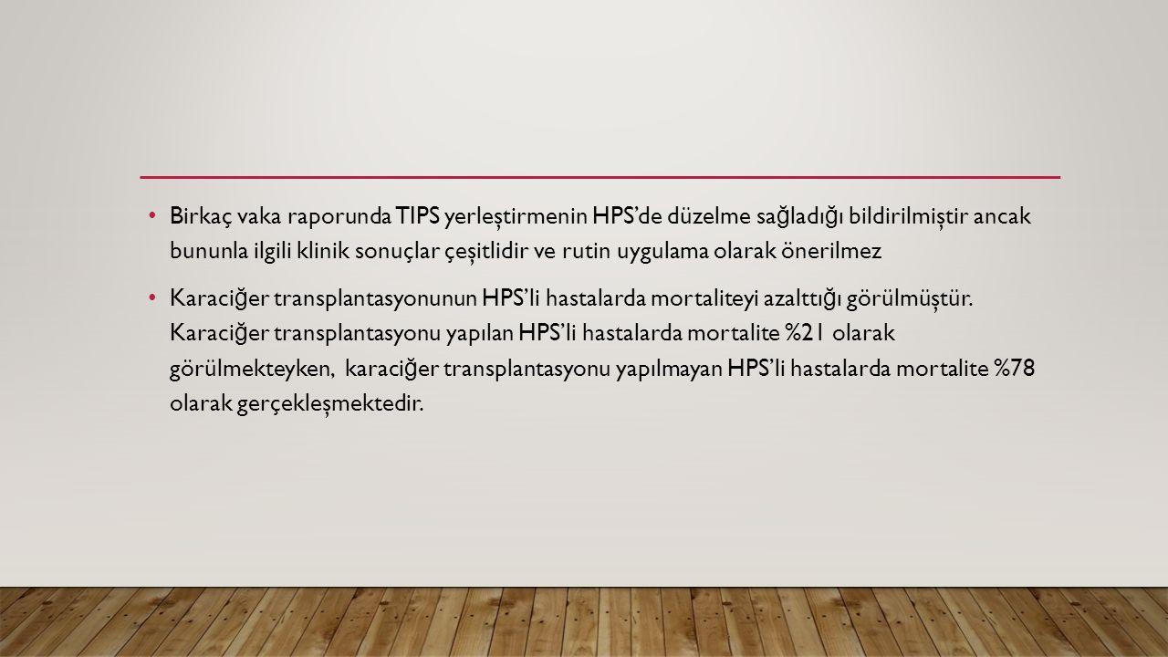 Birkaç vaka raporunda TIPS yerleştirmenin HPS'de düzelme sağladığı bildirilmiştir ancak bununla ilgili klinik sonuçlar çeşitlidir ve rutin uygulama olarak önerilmez