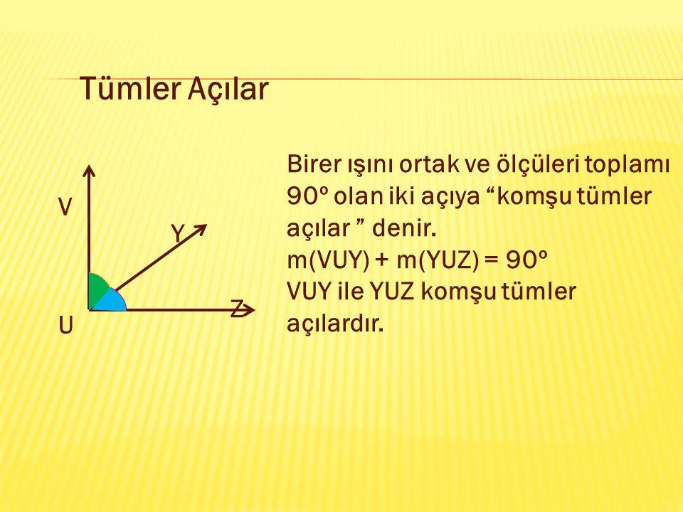 Tümler Açılar Birer ışını ortak ve ölçüleri toplamı 90º olan iki açıya komşu tümler açılar denir.