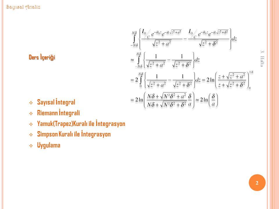 Yamuk(Trapez)Kuralı ile İntegrasyon Simpson Kuralı ile İntegrasyon