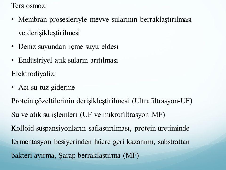 Ters osmoz: Membran prosesleriyle meyve sularının berraklaştırılması ve derişikleştirilmesi. Deniz suyundan içme suyu eldesi.