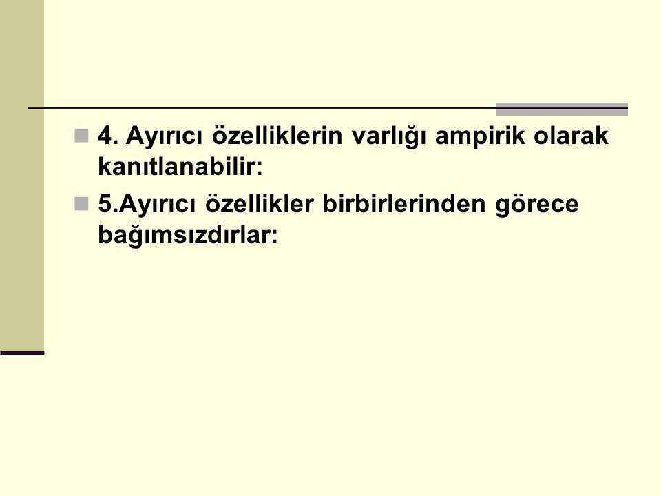 4. Ayırıcı özelliklerin varlığı ampirik olarak kanıtlanabilir: