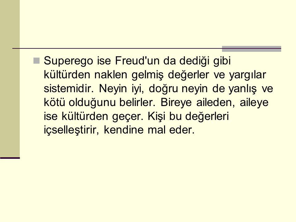 Superego ise Freud un da dediği gibi kültürden naklen gelmiş değerler ve yargılar sistemidir.