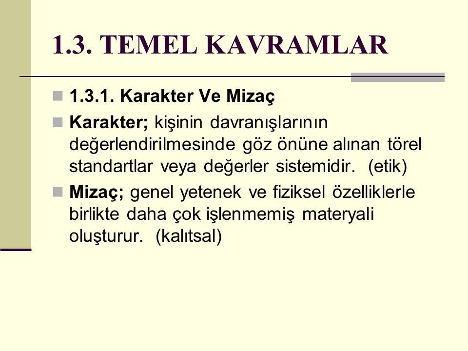 1.3. TEMEL KAVRAMLAR 1.3.1. Karakter Ve Mizaç