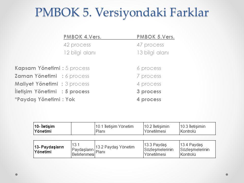 PMBOK 5. Versiyondaki Farklar
