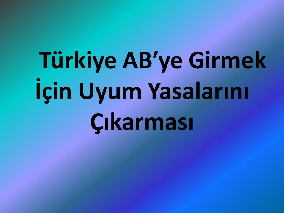 Türkiye AB′ye Girmek İçin Uyum Yasalarını Çıkarması