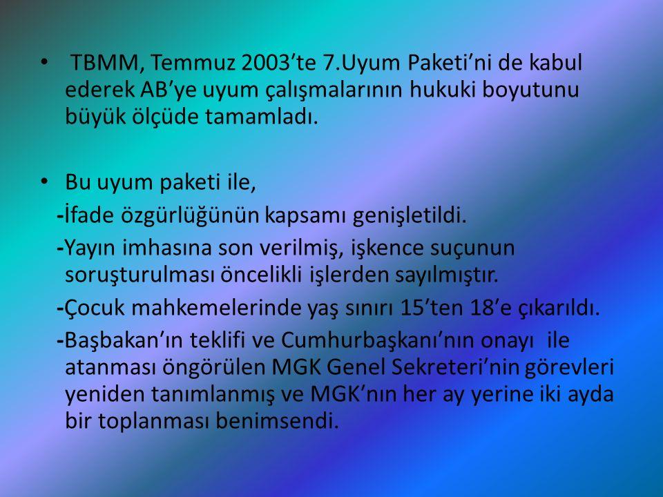 TBMM, Temmuz 2003′te 7.Uyum Paketi′ni de kabul ederek AB′ye uyum çalışmalarının hukuki boyutunu büyük ölçüde tamamladı.