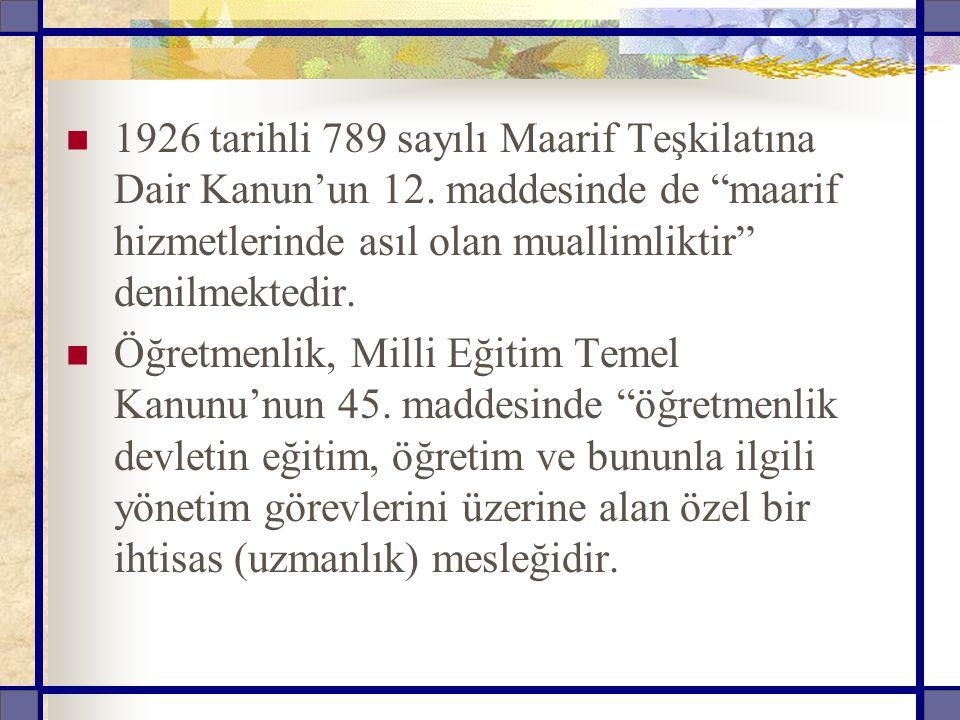 1926 tarihli 789 sayılı Maarif Teşkilatına Dair Kanun'un 12
