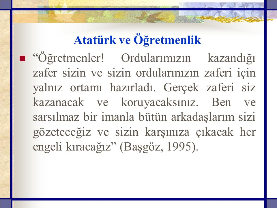 Atatürk ve Öğretmenlik