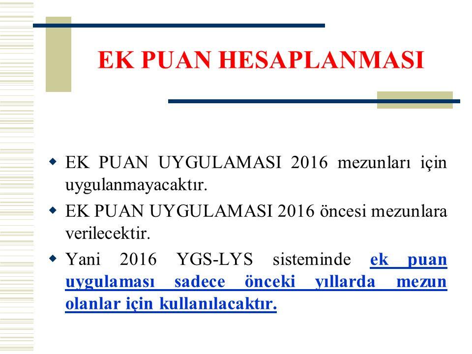 EK PUAN HESAPLANMASI EK PUAN UYGULAMASI 2016 mezunları için uygulanmayacaktır. EK PUAN UYGULAMASI 2016 öncesi mezunlara verilecektir.