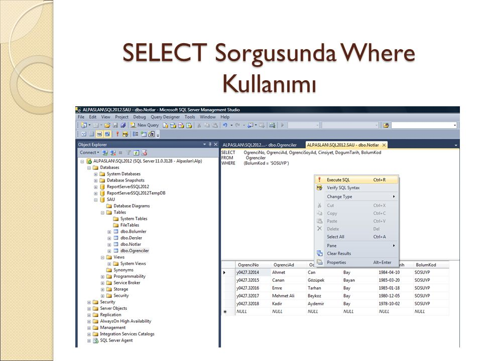 SELECT Sorgusunda Where Kullanımı