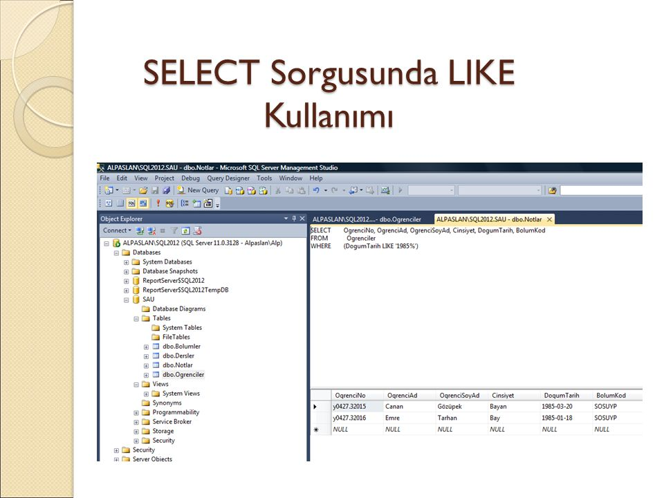 SELECT Sorgusunda LIKE Kullanımı