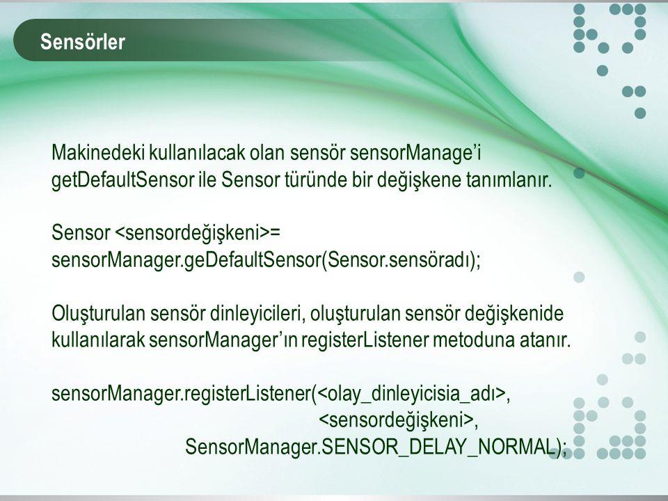 Sensörler Makinedeki kullanılacak olan sensör sensorManage'i getDefaultSensor ile Sensor türünde bir değişkene tanımlanır.