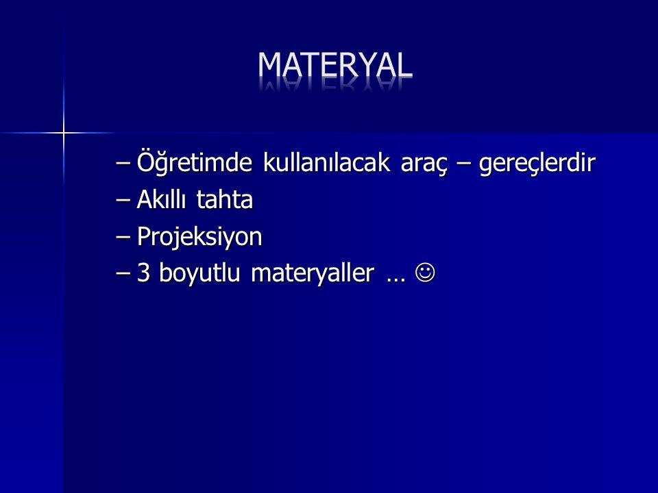 Materyal Öğretimde kullanılacak araç – gereçlerdir Akıllı tahta