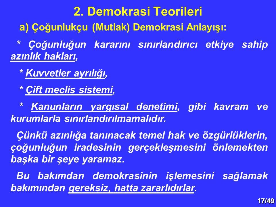 2. Demokrasi Teorileri a) Çoğunlukçu (Mutlak) Demokrasi Anlayışı: