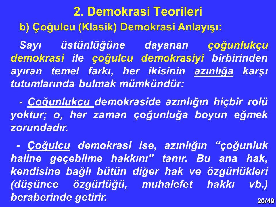 2. Demokrasi Teorileri b) Çoğulcu (Klasik) Demokrasi Anlayışı: