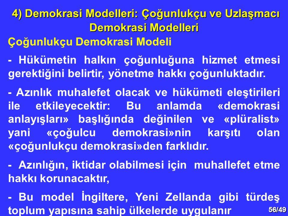 4) Demokrasi Modelleri: Çoğunlukçu ve Uzlaşmacı Demokrasi Modelleri