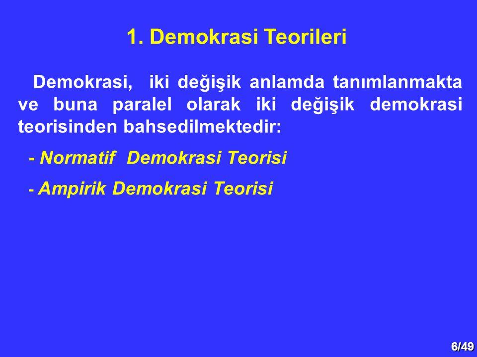 1. Demokrasi Teorileri Demokrasi, iki değişik anlamda tanımlanmakta ve buna paralel olarak iki değişik demokrasi teorisinden bahsedilmektedir: