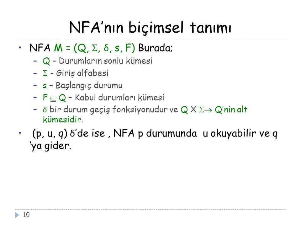 NFA'nın biçimsel tanımı