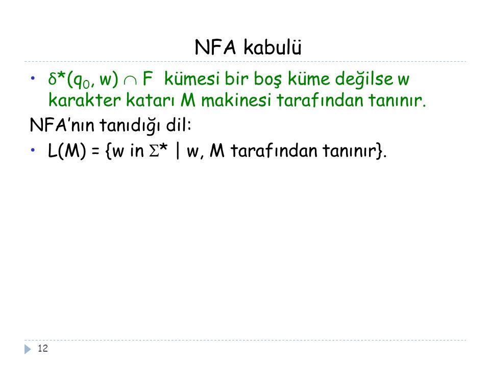 NFA kabulü δ*(q0, w)  F kümesi bir boş küme değilse w karakter katarı M makinesi tarafından tanınır.
