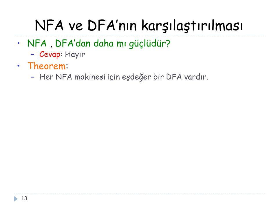 NFA ve DFA'nın karşılaştırılması