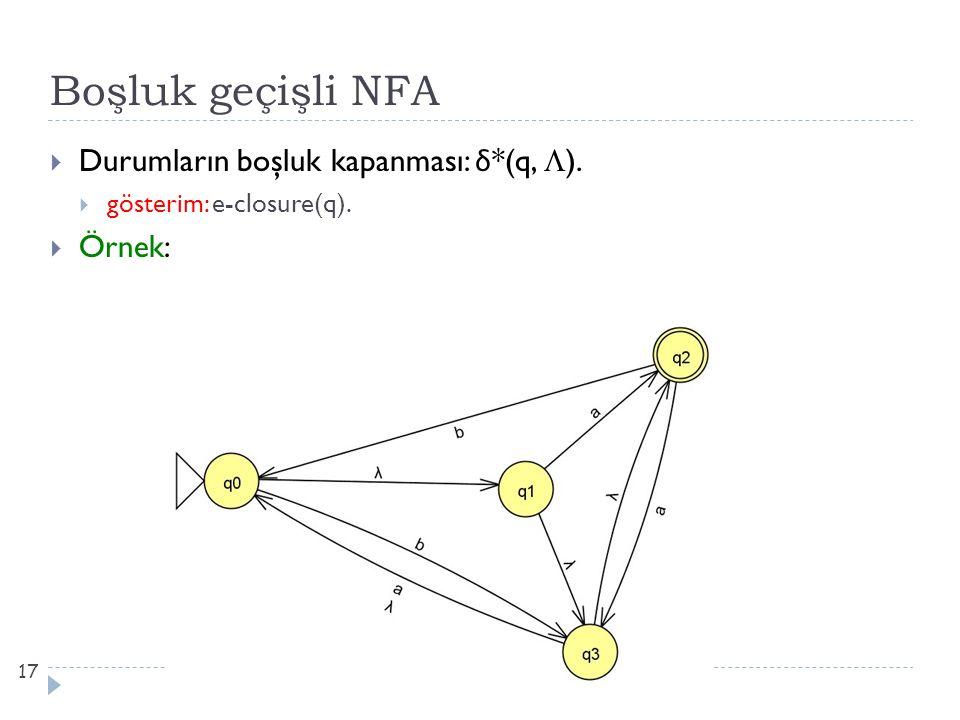 Boşluk geçişli NFA Durumların boşluk kapanması: δ*(q, ). Örnek: