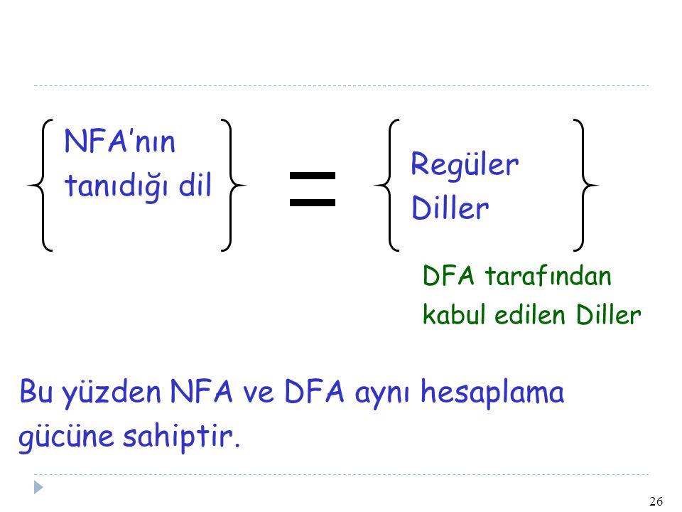 Bu yüzden NFA ve DFA aynı hesaplama gücüne sahiptir.