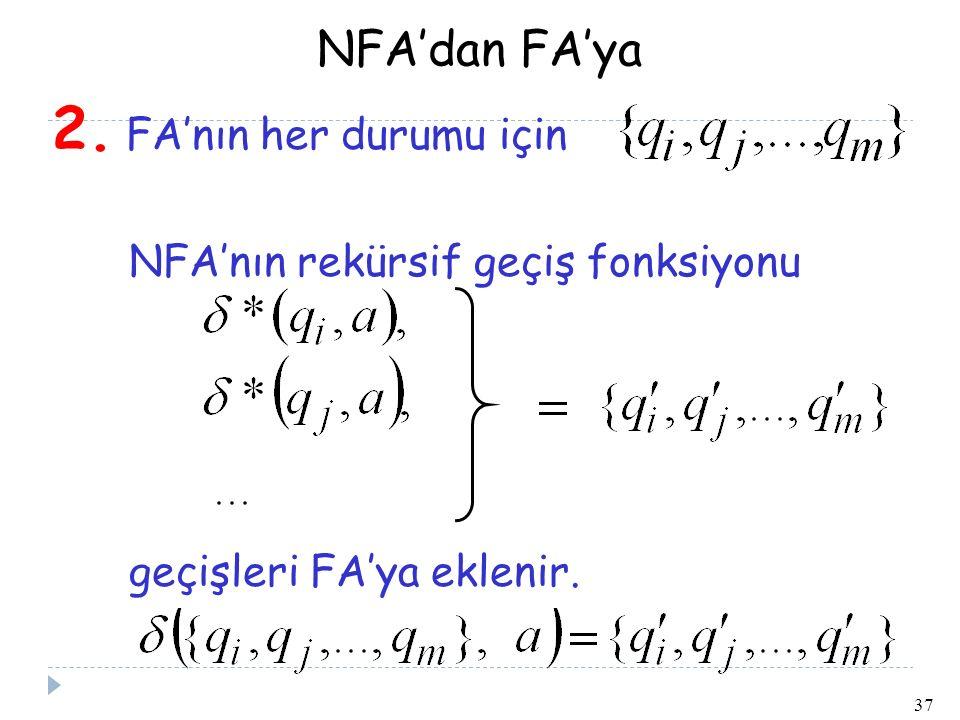 NFA'dan FA'ya 2. FA'nın her durumu için