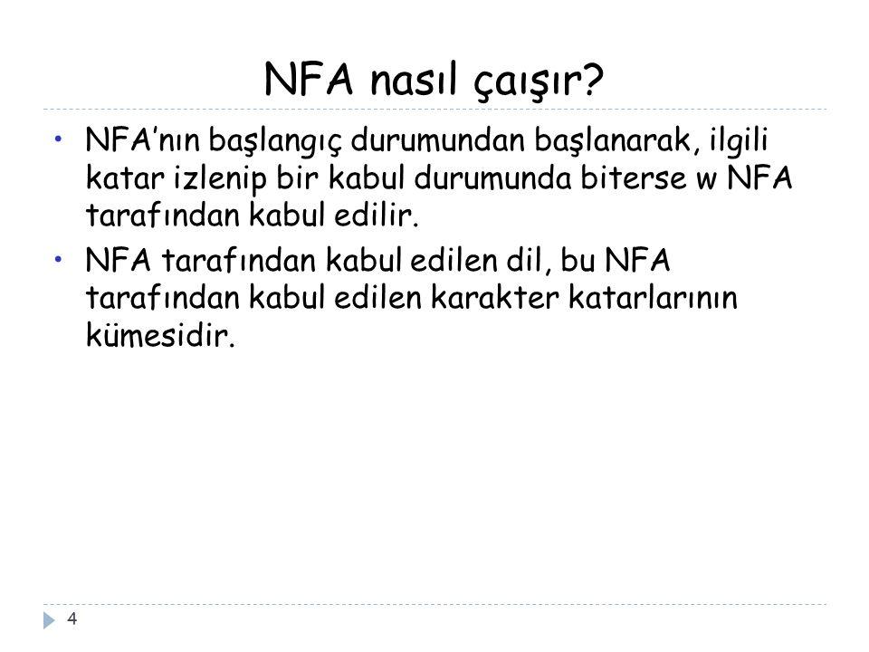 NFA nasıl çaışır NFA'nın başlangıç durumundan başlanarak, ilgili katar izlenip bir kabul durumunda biterse w NFA tarafından kabul edilir.