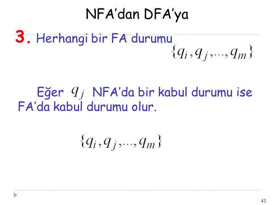 NFA'dan DFA'ya 3. Herhangi bir FA durumu