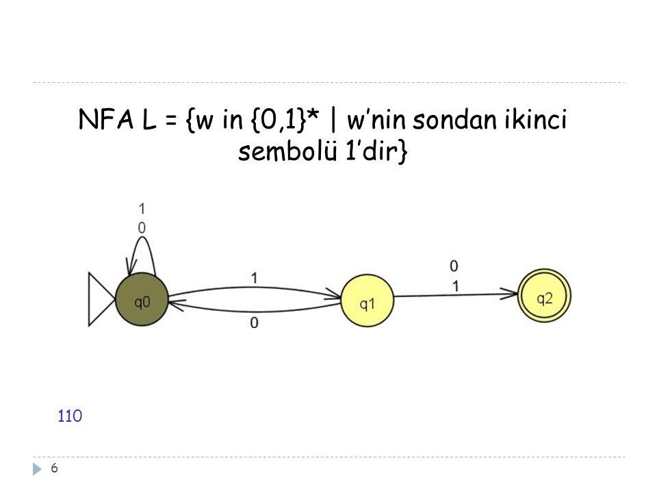NFA L = {w in {0,1}* | w'nin sondan ikinci sembolü 1'dir}