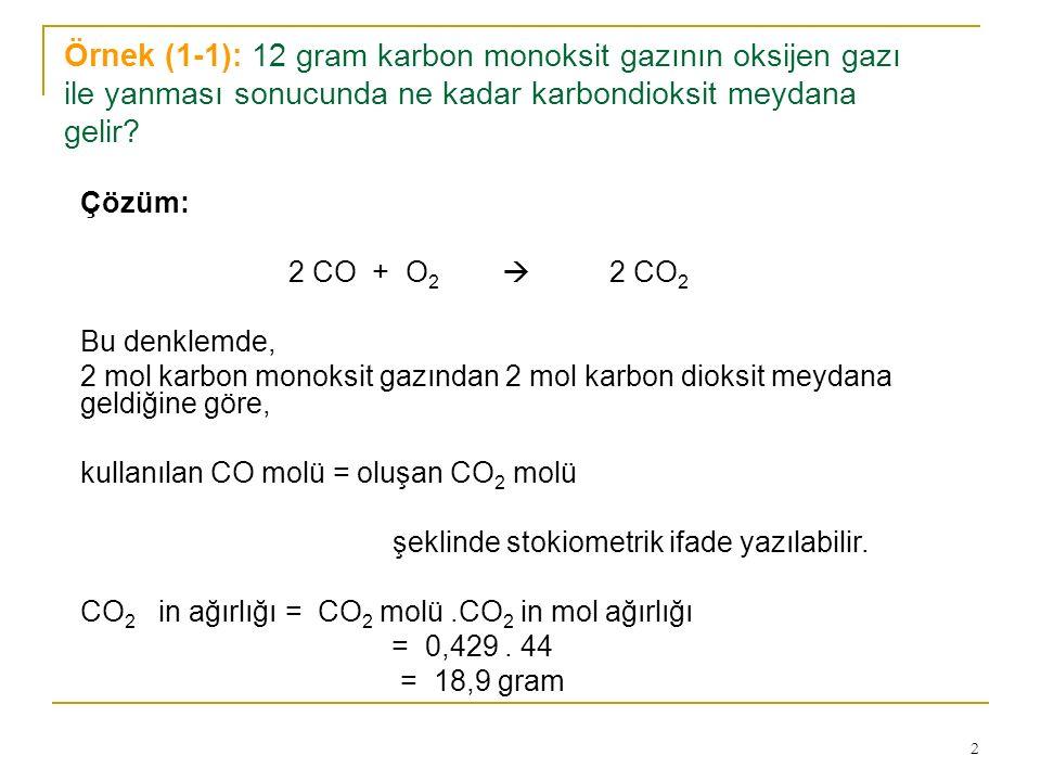 Örnek (1-1): 12 gram karbon monoksit gazının oksijen gazı ile yanması sonucunda ne kadar karbondioksit meydana gelir