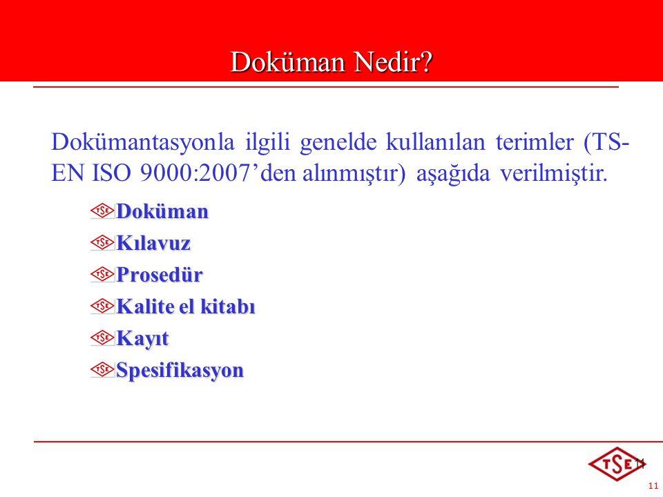 Doküman Nedir Dokümantasyonla ilgili genelde kullanılan terimler (TS-EN ISO 9000:2007'den alınmıştır) aşağıda verilmiştir.
