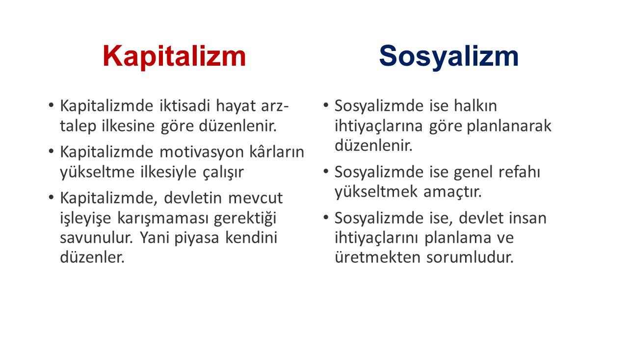 Kapitalizm Sosyalizm. Kapitalizmde iktisadi hayat arz- talep ilkesine göre düzenlenir.