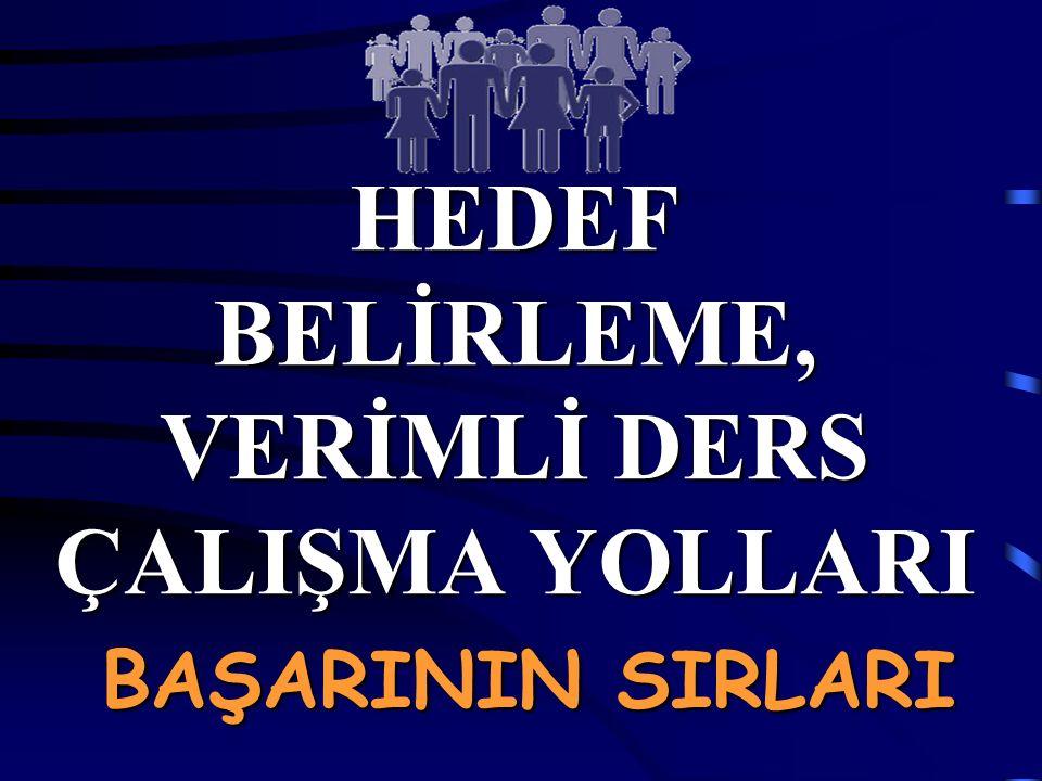 HEDEF BELİRLEME, VERİMLİ DERS ÇALIŞMA YOLLARI