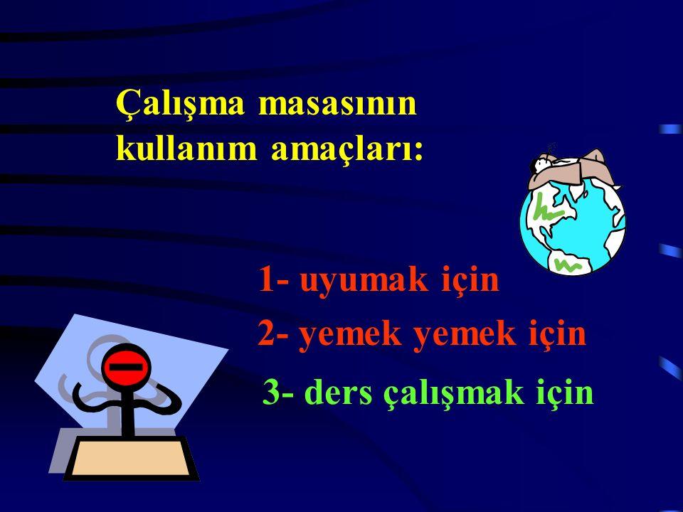 Çalışma masasının kullanım amaçları: