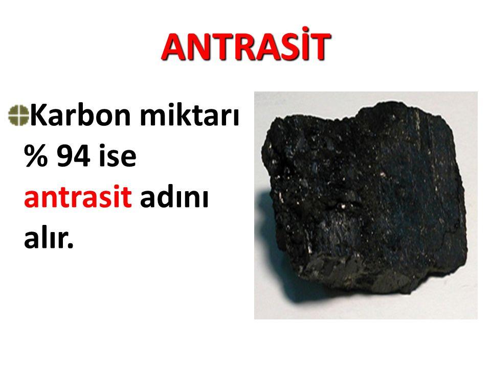ANTRASİT Karbon miktarı % 94 ise antrasit adını alır.
