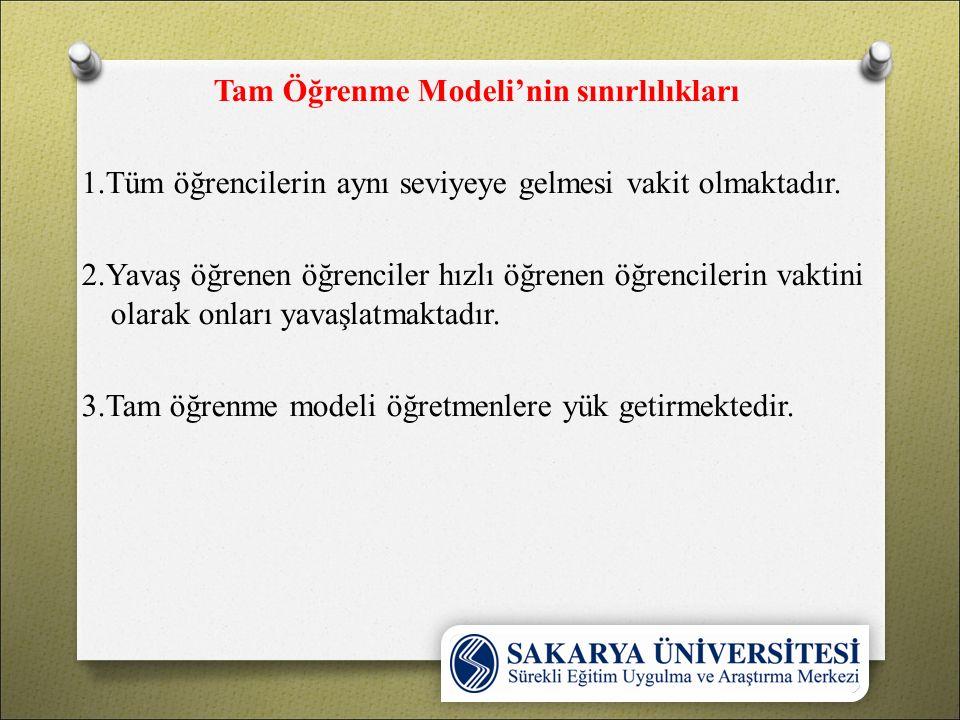 Tam Öğrenme Modeli'nin sınırlılıkları 1