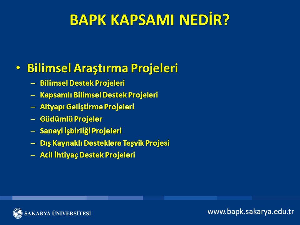 BAPK KAPSAMI NEDİR Bilimsel Araştırma Projeleri