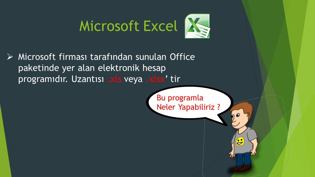 Microsoft Excel Microsoft firması tarafından sunulan Office paketinde yer alan elektronik hesap programıdır. Uzantısı .xls veya .xlsx' tir.