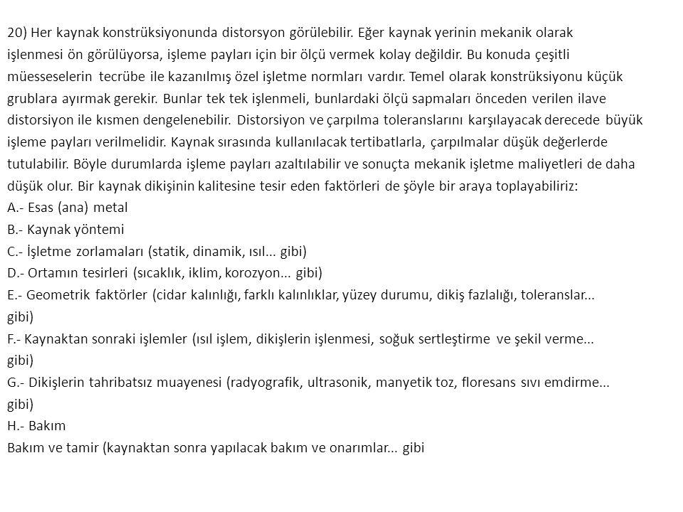 20) Her kaynak konstrüksiyonunda distorsyon görülebilir