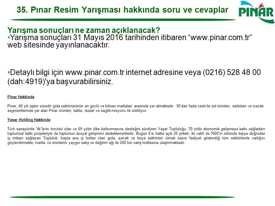 35. Pınar Resim Yarışması hakkında soru ve cevaplar