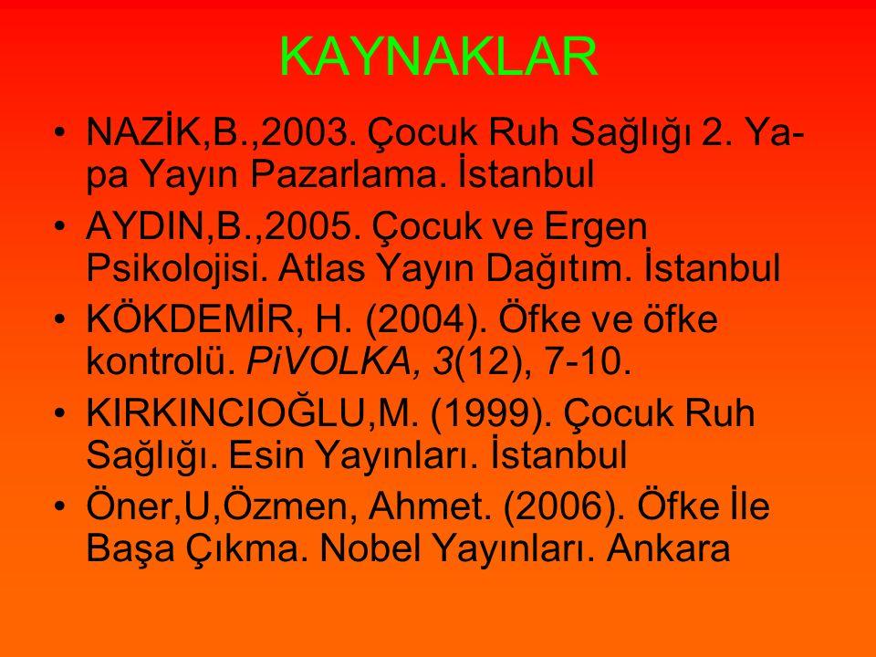 KAYNAKLAR NAZİK,B.,2003. Çocuk Ruh Sağlığı 2. Ya-pa Yayın Pazarlama. İstanbul.