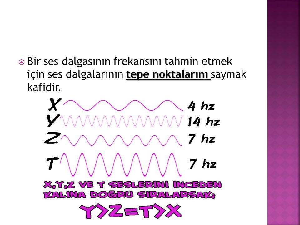Bir ses dalgasının frekansını tahmin etmek için ses dalgalarının tepe noktalarını saymak kafidir.