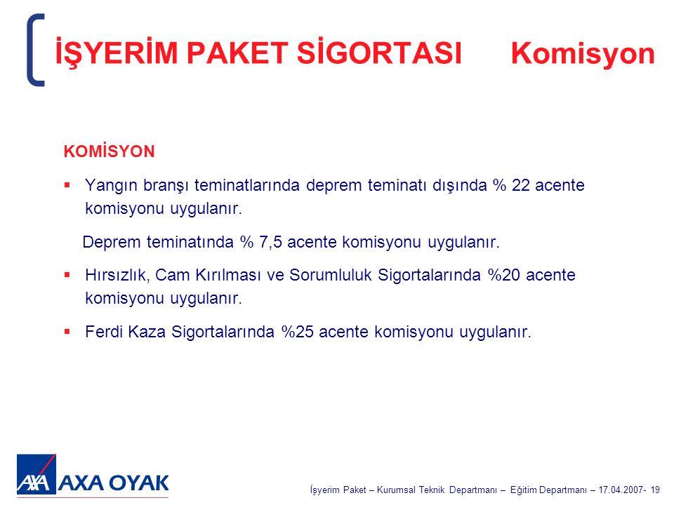İŞYERİM PAKET SİGORTASI Komisyon