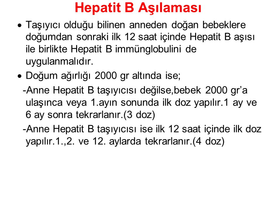 Hepatit B Aşılaması