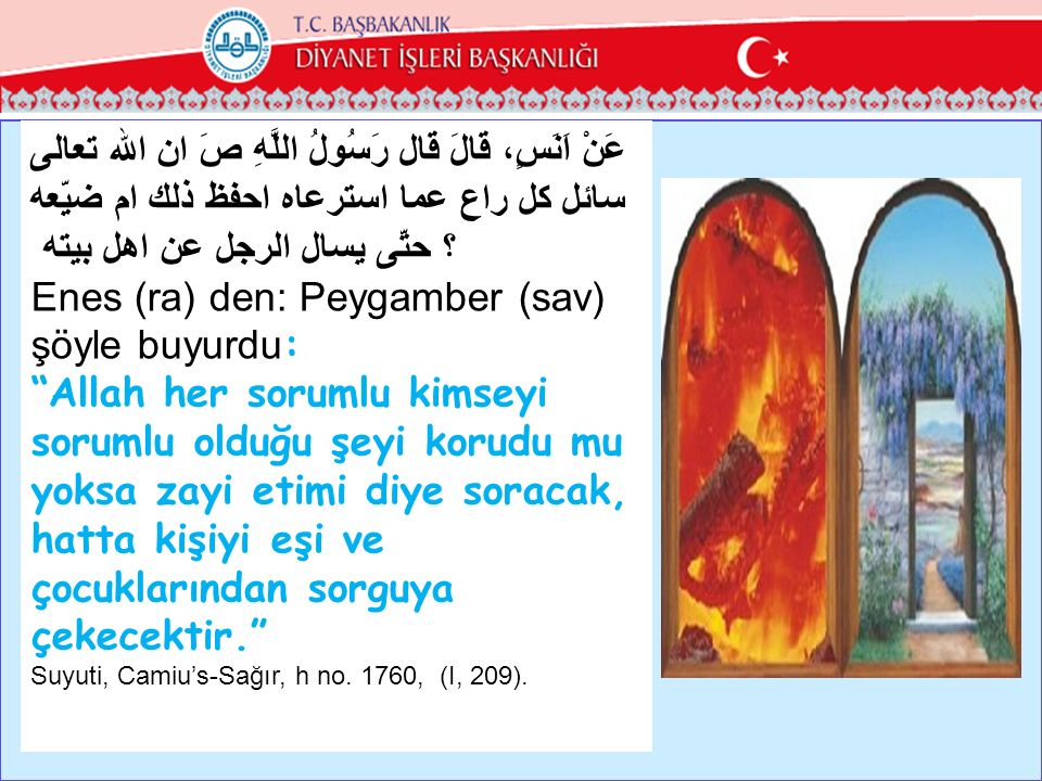 Enes (ra) den: Peygamber (sav) şöyle buyurdu: