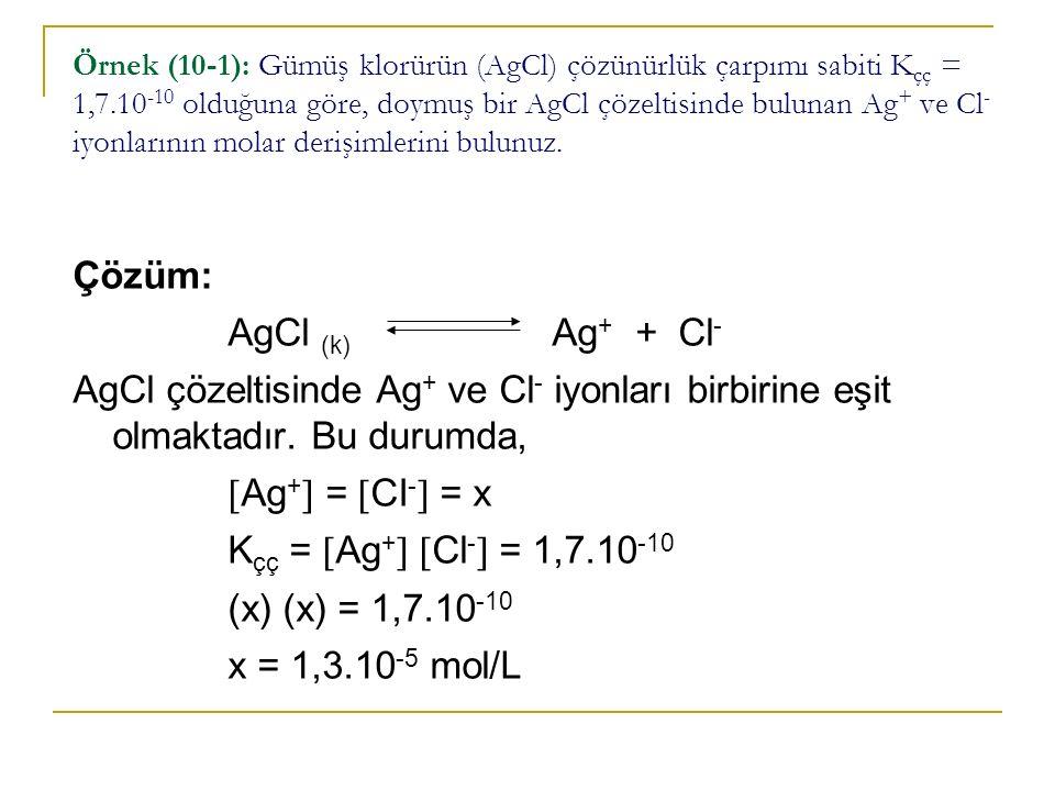 Çözüm: AgCl (k) Ag+ + Cl-