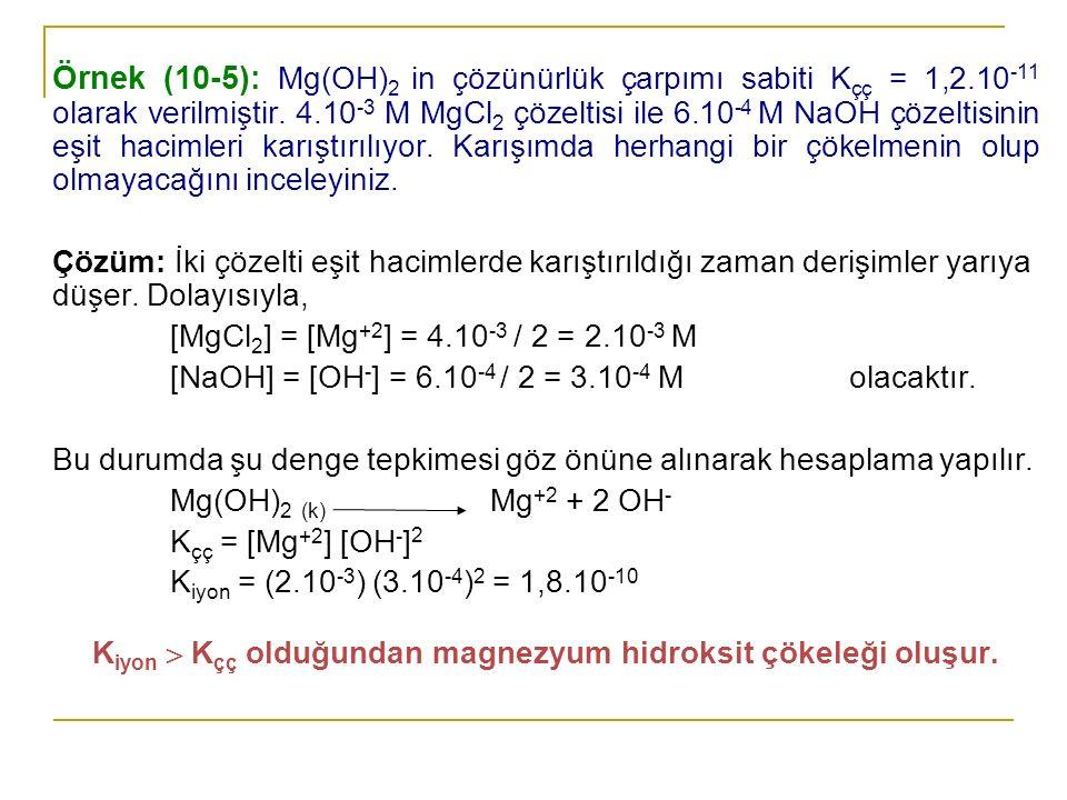 Kiyon  Kçç olduğundan magnezyum hidroksit çökeleği oluşur.